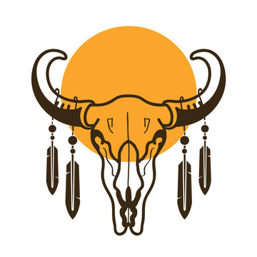 bull skull with feathers wild west illustration