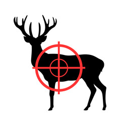 Deer and gunsight - animal is going to be killed gun and weapon. Hunter's device for hunting. Vector illustration