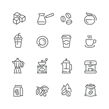 Coffee related icons: thin vector icon set, black and white kit