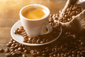 Canvas Prints Cafe Cup of Coffee and Coffee Beans