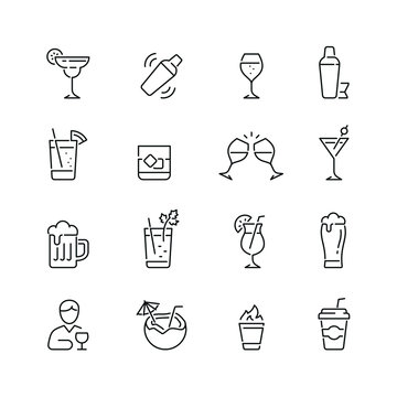 Alcohol related icons: thin vector icon set, black and white kit