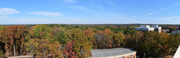 View across Oxford and Lafayette County from the University of Mississippi North Parking Garage