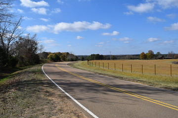 Panorama of the landscape around Lafayette County Road 202 near Oxford Mississippi
