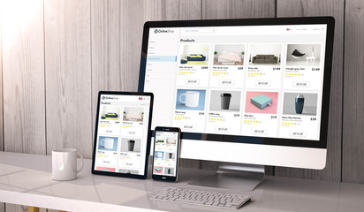 devices responsive on workspace online shop website design Wall mural