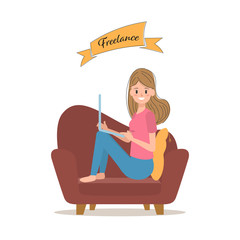 freelance job character with laptop. woman sitting on sofa.