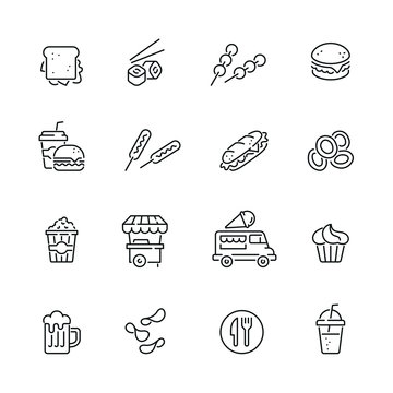Fast food related icons: thin vector icon set, black and white kit