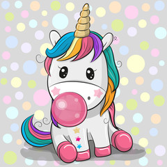 Cute Cartoon Unicorn with bubble gum