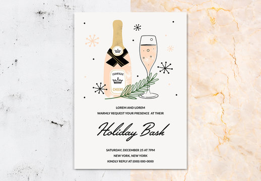 Party Invitation Layout with Champagne Illustration