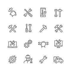 Repair related icons: thin vector icon set, black and white kit