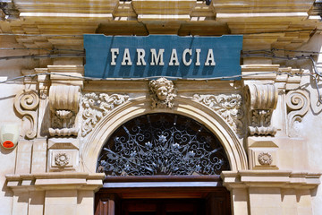 exterior of the Ancient Pharmacy Cartia World Heritage Site by Unesco in 2002 Scicli Italy