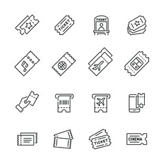 Tickets related icons: thin vector icon set, black and white kit