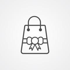Christmas shopping bag vector icon sign symbol