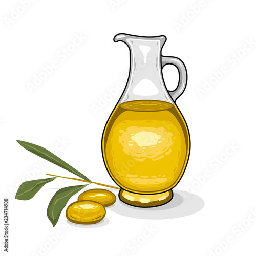 Glass Bottle Of Olive Oil And Branch Of Olives On Isolated