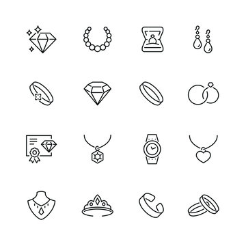 Jewelry related icons: thin vector icon set, black and white kit