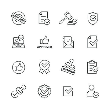 Approve related icons: thin vector icon set, black and white kit
