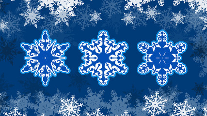 Vector Christmas snowflakes on a beautiful snowy background. EPS 10.