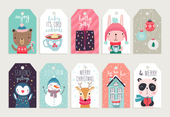 Fototapete - Cute tags with christmas animals.