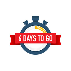 Six days to go. Time icon. Vector illustration on white background.