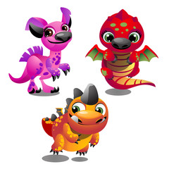 Set of funny colorful fantasy pets with big trusting eyes isolated on white background. Elements to create images, cards and other graphics in style for children. Vector cartoon close-up illustration.