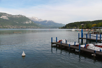 Beautiful Annecy lake and mountains. Summer day