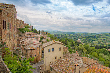 Fotobehang Toscane Landscape of the Tuscany. View from the city wall on the church of Madonna di San Biagio and the Tuscan countryside, Montepulciano, Italy