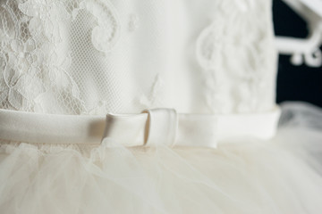Bow on a ivory dress. Close up