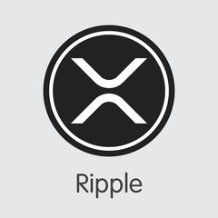 Ripple - Digital Coin Vector Icon of Cryptographic Currency.