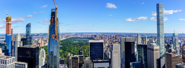 Panoramic view of Central park and skyscrapers of New York from the top of the Rockefeller Center.