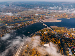 Panoramic view of city Autumn, Tom river. Drone aerial top view.