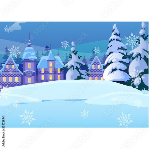 Party Christmas Winter Greeting Illustration Template Royalty-free Or Small Landscape Poster Close-up Stock Cartoon With In Snowy Mood For Old