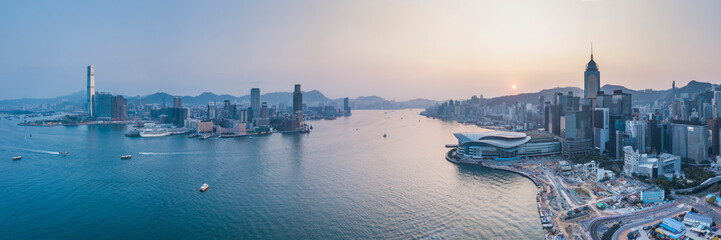 View over Victoria Harbour and Hong Kong at sunset, China, Asia