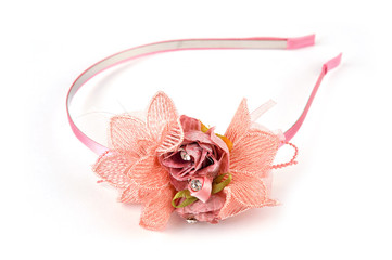 Wreath on head isolated. Hair band, headband or hair hoop isolated on white background. Hair accessory for little girls or women ideal for styling.