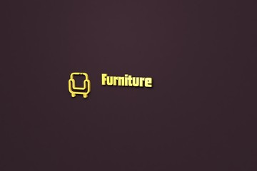 Text Furniture with yellow 3D illustration and brown background