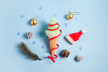 Christmas holiday minimal concept. Ice cream in the shape of a Christmas Tree
