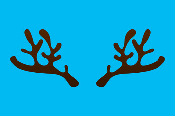 Horns of a reindeer on a blue background