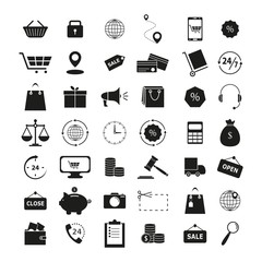 Set of shopping 42 icons the finance business