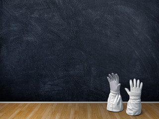 3d illustration rendering Astronaut gloves over blank blackboard and brown parquet