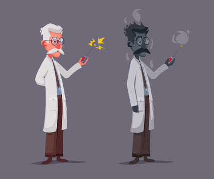 Crazy old scientist is conducting a scientific experiment. Remote controller. Funny character. Cartoon vector illustration