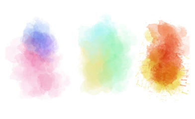 Set of abstract  watercolor blots for design