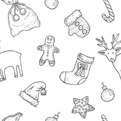 New Year And Christmas - grey and white seamless pattern with hand-drawn elements