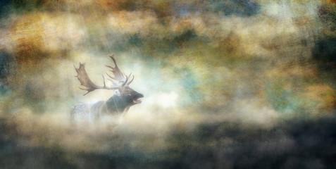 Roaring fallow deer buck in misty landscape. Old master painting style.