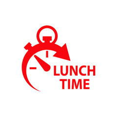 Icono plano con reloj con texto LUNCH TIME en color rojo