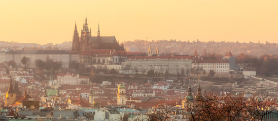 Prague cityscape with Prague Castle at winter sunset time. View from Rieger Gardens, Prague, Czech Republic.