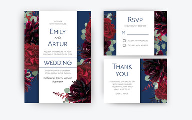 Wedding invite invitation, rsvp, thank you card floral color design. Red rose flowers, dahlias, eucalyptus silver dollar branches, berries wreath modern decoration. Bohemian burgundy and navy blue set