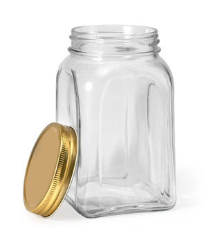 Empty jar isolated on white