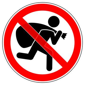 srr484 SignRoundRed - german: Einbrecher / Diebstahl verboten (kriminell) - english: prohibition sign / no burglar allowed - prevent theft (criminal) - xxl g6793