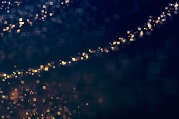 Glitter lights glittering squares background. Defocused bokeh dark. Illustration