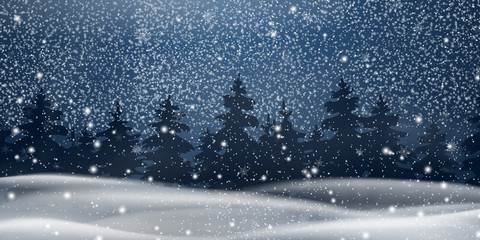 Fotomurales - Christmas, night Snowy Woodland landscape. Winter background. Holiday winter landscape for Merry Christmas with firs, coniferous forest, snow, snowflakes. Christmas scene. Happy new year.
