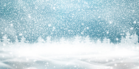 Fotomurales - Natural Winter Christmas background with blue sky, heavy snowfall, snowflakes, snowy coniferous forest, snowdrifts. Winter landscape with falling christmas shining beautiful snow.