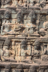 Apsara carved on Elephant terrace wall in Angkor Thom, Cambodia